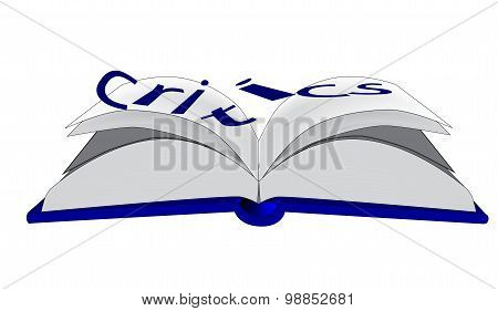 An open book with the word critics falling off the page all over a white background poster