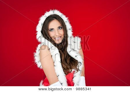 Beautiful Sexy Santa Woman On Red