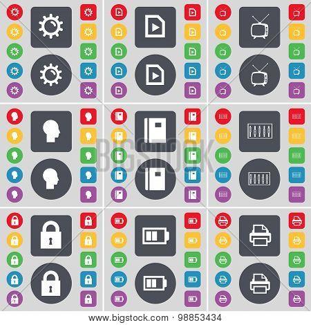 Gear, Media File, Retro Tv, Sillhouette, Notebook, Equalizer, Lock, Battery, Printer Icon Symbol. A