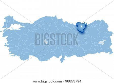 Map Turkey Gumushane Vector Photo Bigstock