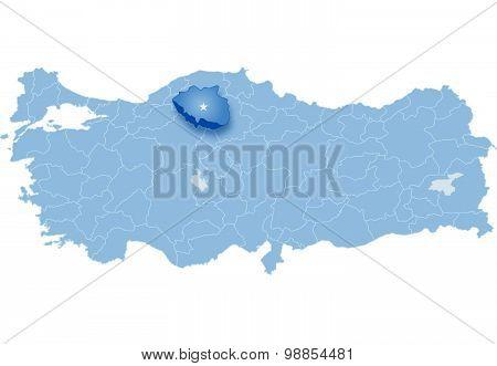 Map Of Turkey, Cankiri
