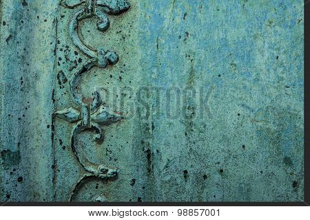 Background image of antique copper surface texture. poster
