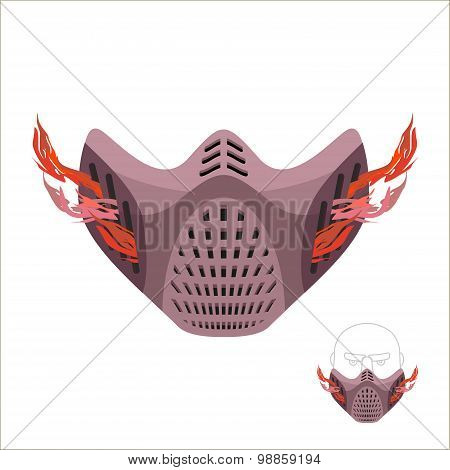 Protective Sports Mask. Scary Monster Mask Or Maniac With Fire. Vector Illustration