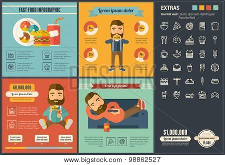 Fast food infographic template and elements. The template includes illustrations of hipster men and huge awesome set of thin line icons. Modern minimalistic flat vector design.