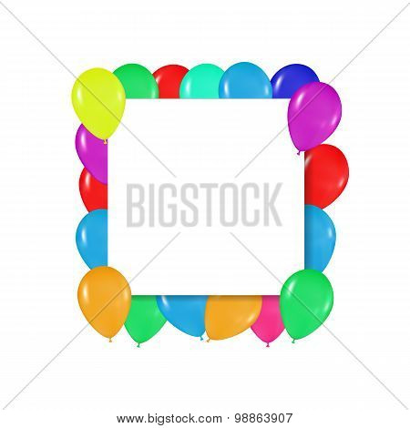 square frame of colorful balloons in the style of realism. to design cards, birthdays, weddings, fie