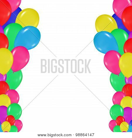 Frame Of Colorful Balloons In The Style Of Realism. To Design Cards, Birthdays, Weddings, Fiesta, Ho