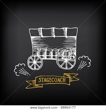 Stagecoach, covered wagon. Sketch vector design.