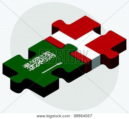 Saudi Arabia and Kingdom of Denmark Flags in puzzle isolated on white background. poster