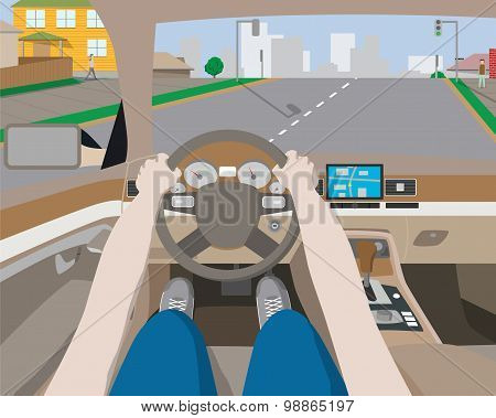 A man traveling by car to rest of the city on the navigator. Vector illustration