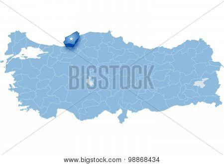 Map Of Turkey, Zonguldak
