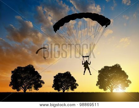 Silhouette skydiver parachutist landing at sunset
