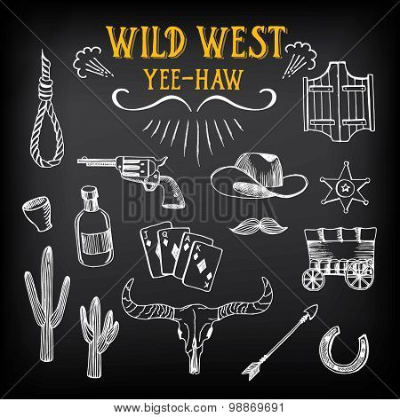 Wild west design sketch. Icons drawing vintage elements.Vector with elements. poster