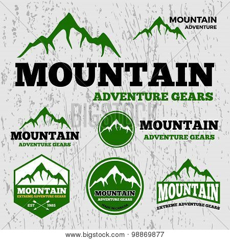 Premium mountain adventure vector logo template