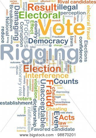 Background concept wordcloud illustration of vote rigging
