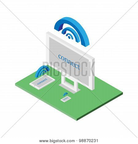 Flat 3d isometric computerized technology designer workspace infographic concept vector. Tablet laptop smart phone desktop computer wifi connect poster