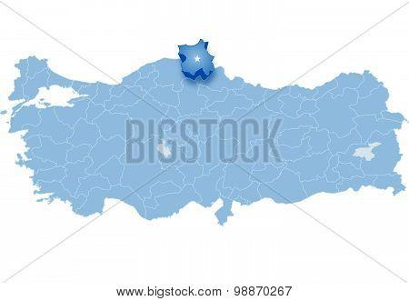 Map Of Turkey, Sinop