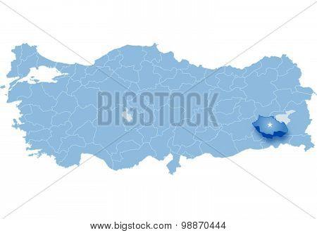 Map Of Turkey, Siirt