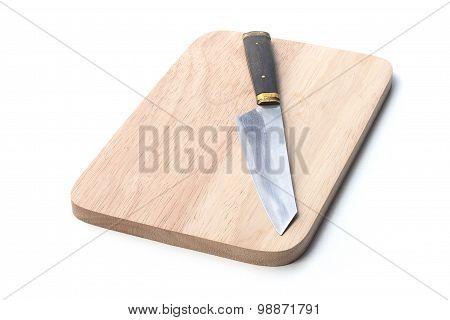 Knife On Wood Plate