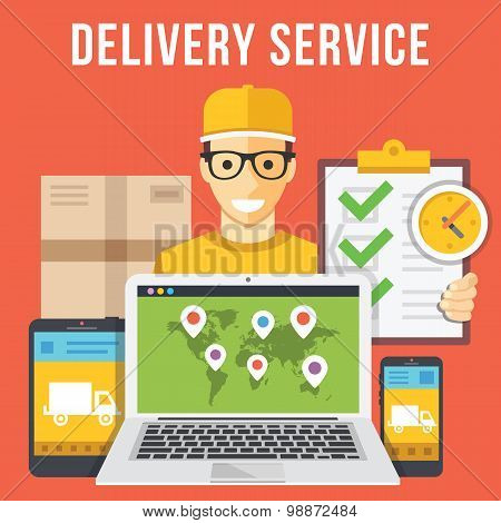 Delivery service and courier parcel collection flat illustration concepts