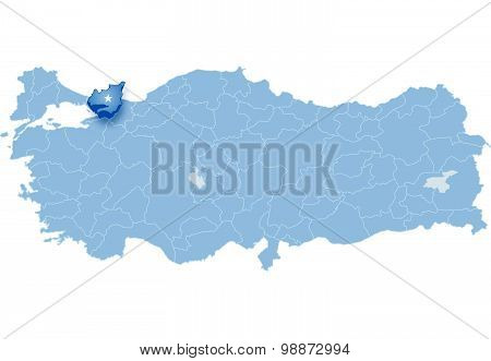 Map Of Turkey, Kocaeli