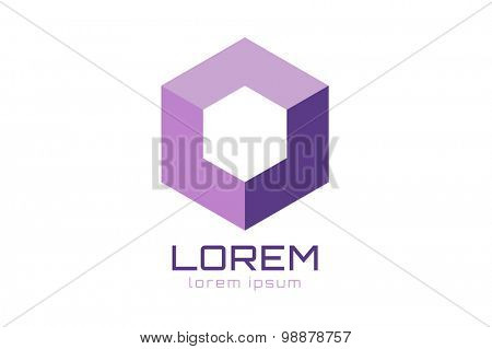 Abstract quare logo vector template. Corner geometric shape and symmetric symbol, square icon, box logo or box shape. Company logo. Geometric design.
