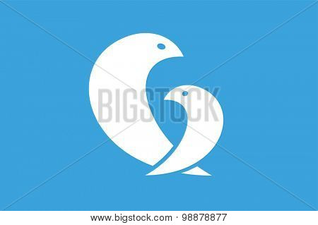 Two birds logo icon template. Mother and child concept. Beauty logo, nature background. Couple, family, love, care and union. care, charity