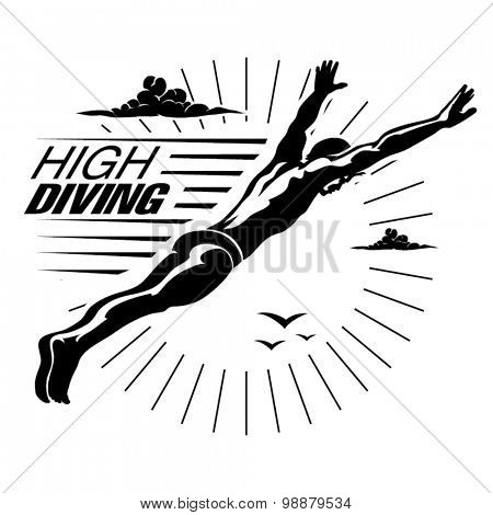 High angle view of a man diving in midair .Vector illustration in the engraving style.