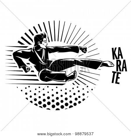 Karate martial art silhouette of man. Vector illustration in the engraving style.
