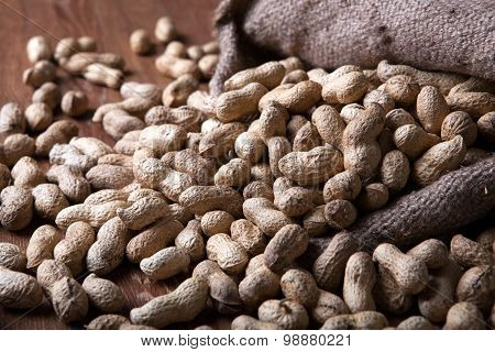 Large Grains Of Peanuts In The Shell And The Bag