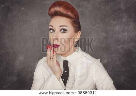 Beautiful Woman With A Confused Expression