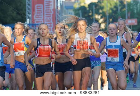 Large Group Of Running Girls And Boys Close-up