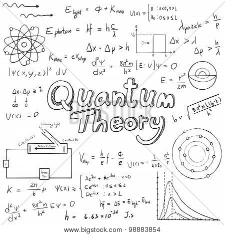 Quantum Theory Law And Physics Mathematical Formula Equation, Doodle Handwriting Icon In White Isola