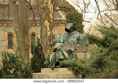 Statue of Anonymus in Budapest's City Park