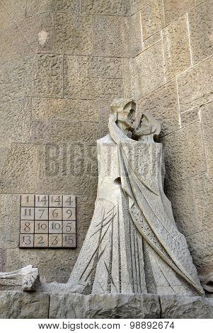 Passion Fa?ade Of Sagrada Familia Temple, Barcelona,catalonia, Spain