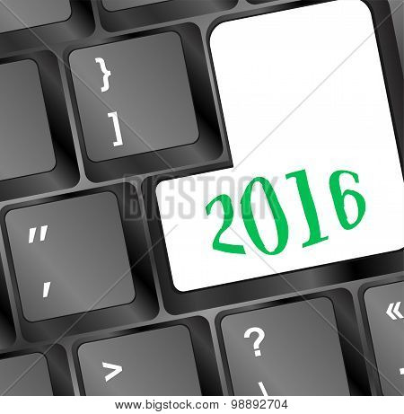 Computer Keyboard With Happy New Year 2016 Key