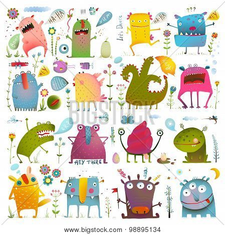 Fun Cute Cartoon Monsters for Kids Design Collection