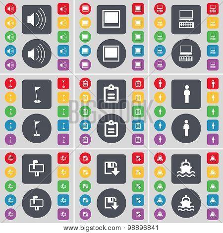 Sound, Window, Laptop, Golf Hole, Survey, Silhouette, Mailbox, Floppy, Ship Icon Symbol. A Large Set