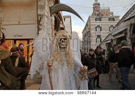 Death Carnival Costume At The Rialto Bridge, Venice Carnival In Venice, Italy