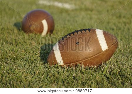 American Football Sitting In Natural Grass Field
