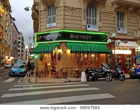 Evening Cityscape With French Outdoor Cafe Bistrot In Nice, France