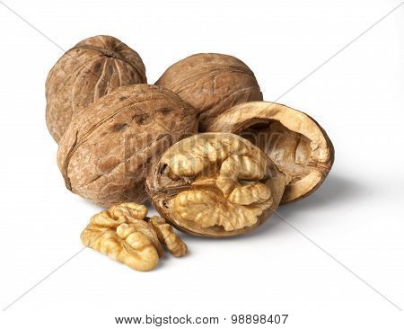 walnut and a cracked walnut isolated on the white background with clipping past poster