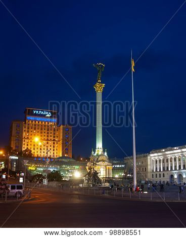 Kiev, Ukraine - September 10, 2013: Evening view of the monument at the Independence Square. Kiev, U
