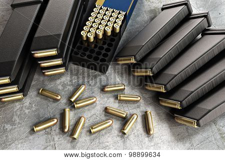 Assault rifle ammunition and loaded clips