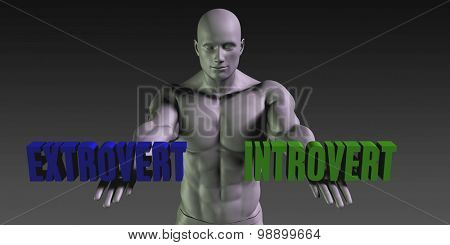 Extrovert vs Introvert Concept of Choosing Between the Two Choices poster