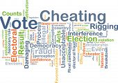 Background concept wordcloud illustration of vote cheating poster
