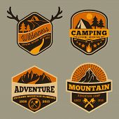 Set of Vintage wilderness, adventure, camping and mountain badge logo design for emblem logo, labels, banner | Vector illustration poster