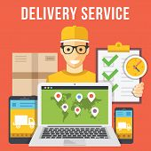 Delivery service and courier parcel collection flat illustration concepts. Modern flat design concepts for web banners, web sites, printed materials, infographics. Creative vector illustration poster