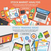 Stock market analytics, stock trading ideas flat illustration concept set. Top view. Modern flat design concepts for web banners, web sites, printed materials, infographic.Creative vector illustration poster