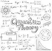 Quantum theory law and physics mathematical formula equation doodle handwriting icon in white isolated background paper with handdrawn model poster
