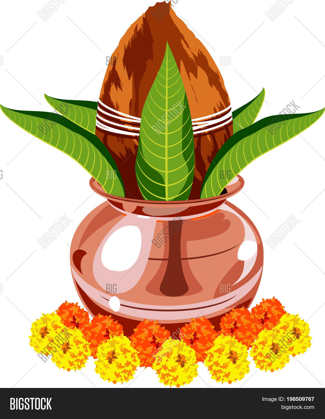 Vector Drawing Or Illustration Of Colourful Flower Arrangement Toran Using Marigold Zendu Genda